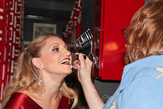 Annaleigh Ashford with Makeup Artist Craig Jessup  Photo