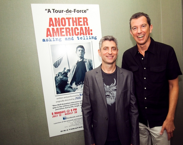 Marc Wolf and Alexander Fraser (Producer, Daryl Roth Productions) at ANOTHER AMERICAN: ASKING AND TELLING at the DR2 Theatre