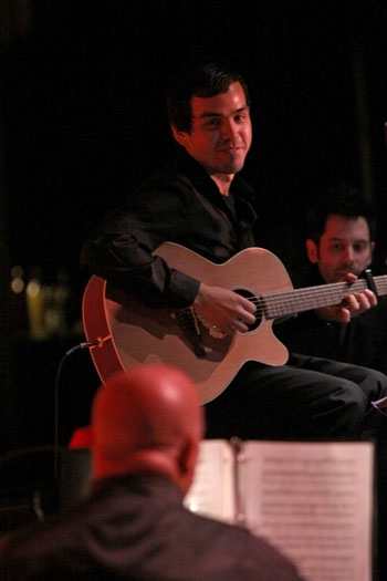 Upright guitarist Nick Perez with Matt Lucich and MD Gerald Sternbach at Upright Cabaret/La Mirada Theatre