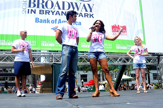 Nehal Joshi, Jose Llana, Sasha Sloan & Jennifer Blood (Falling For Eve) at Broadway in Bryant Park, July 22
