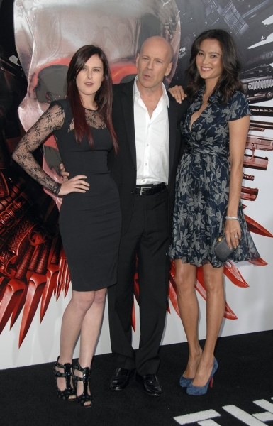 Rumer Willis (L), Bruce Willis, and Emma Heming Photo