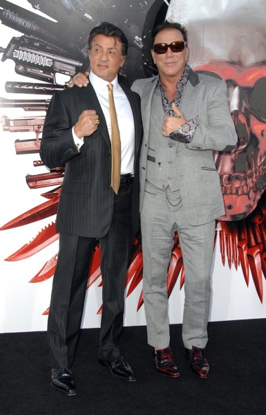Sylvester Stallone (L) and Mickey Rourke