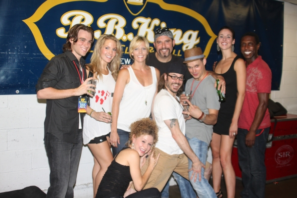 Justin Sargent, Katie Webber, Jenifer Foote, Josephine Rose Roberts, Adam Dannheisser, Mitchell Jarvis, Jeremy Woodard, Sarrah Strimel and Andre Ward at ROCK OF AGES Broadway & Touring Casts Celebrate at BB Kings