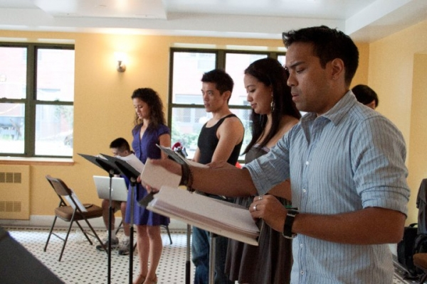 """Ali Ewoldt, Moses Villarama, Jaygee Macapugay, Kurt Uy during the staged reading cast of """"Adventures of a Faux Handbag"""""""
