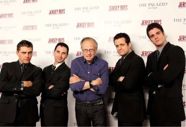 Deven May (Tommy DeVito), Travis Cloer (Frankie Valli), Larry King, Colin Trahan (Nick Massi) and Peter Saide (Bob Gaudio)