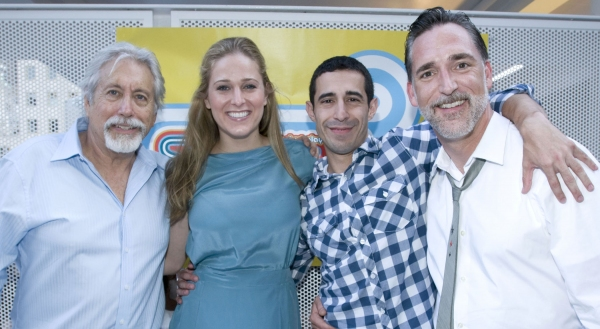 Neil Koenigsberg with the cast of FIT: Kate Cullen Roberts, Jose Joaquin Perez, and L Photo