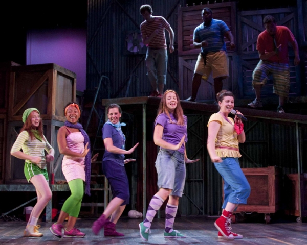 Sarah Grant, Tiffany Cox, Richelle Meiss, Amy Steele, Jennifer Oakley.  (Back r to l) Greg Walters, Frederick Harris, Kevin O'Brien. at Provision Theater Company's GODSPELL