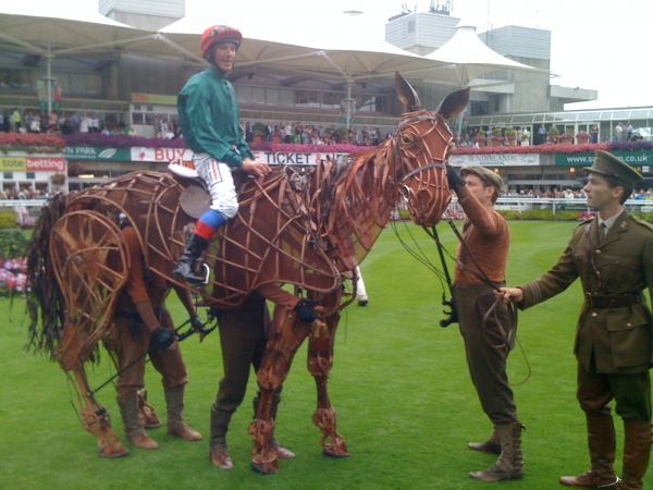 Frankie Dettori lead by Tim Lewis (Captain Nichols) on Joey (Head -David Emmings, Heart - Tommy Luther and Hind Mike Brett