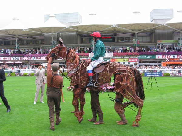 Frankie Dettori on Joey (Puppeteers from l to r - Head -David Emmings, Heart - Tommy Luther and Hind