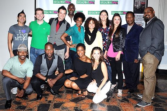 Rory O'Malley & Jenny Kanelos with the cast of Memphis