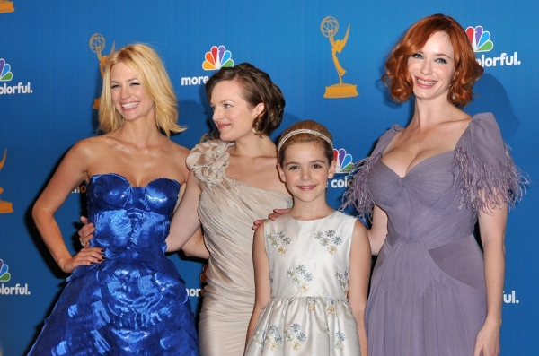 January Jones, Elisabeth Moss, Kiernan Shipka and Christina Hendricks at 2010 Primetime Emmy Awards - Press Room