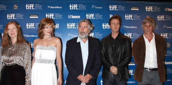 Frances Conroy, Milla Jovovich, Robert De Niro, Edward Norton & John Curran  at STONE Press Conference at the Toronto International Film Festival