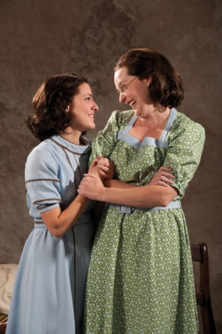 Mariko Nakasone (left) as Anne Frank and Rebecca Prescott as Margot Frank