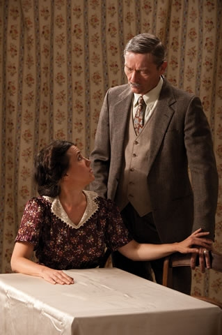 Corliss Preston (left) as Edith Frank and Tim Casto as Otto Frank