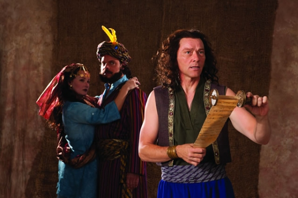 Rebecca Prescott (left) as Daughter of Antiochus, Mark Corkins as Antiochus, and Tim Casto as Pericles