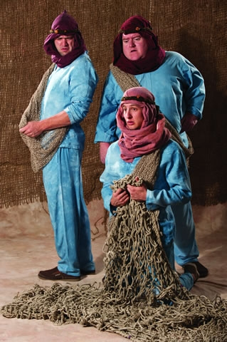 Samuel D. Dinkowitz (left), Michael Daly, and Rhett Guter as Pentapolan Fishermen at THE ADVENTURES OF PERICLES Plays the Utah Shakespearean Festival