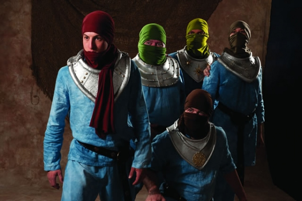 Rhett Guter (left, then clockwise), Michael Daly, Mark Corkins, De Anne Dubin, and Samuel D. Dinkowitz as Knights