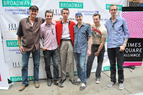 Lance Guest, Robert Britton Lyons, Eddie Clendening, Larry Lelli, Levi Kreis and Corey Kaiser  at Broadway on Broadway 2010 Backstage - Part 1