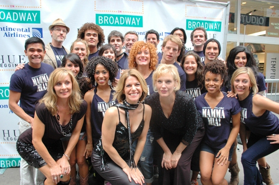 Judy McLane, Heidi Godt and Stacia Fernandez and the cast of Mamma Mia
