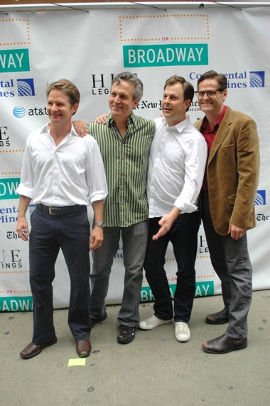 The Cast of Promises, Promises-Peter Benson, Ken Land, Brooks Ashmanskas and Sean Martin Hingston at Broadway on Broadway 2010 Backstage - Part 2