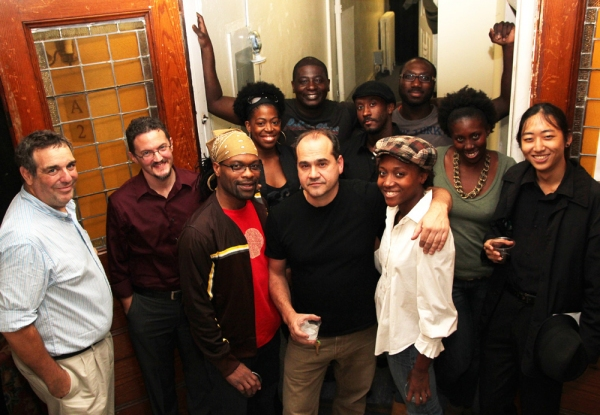 "Playwright Jeff Cohen, author Christopher Stokes, Rawle �""Fitz"" Williams, director Alfred Preisser, Shannon A. L. Dorsey, Tyshawna Maddox, Sean Lum, (L-R back row) Tracy Jack, David Brown, Jr. , Daniel Morgan Shelley, David King at Christopher Stokes At Opening Of The Man Who Ate Michael Rockefeller"