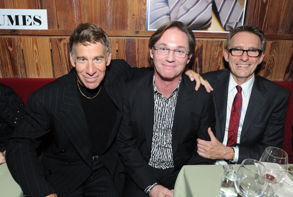 "Stephen Schwartz, Richard Thomas, who performed at Westport Country Playhouse in ""Whose Life Is It Anyway?"" in 1980, and Mark Lamos at Westport Country Playhouse Honors Stephen Schwartz"