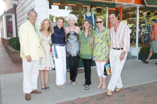 Stewart Lane, Amy Eller, Alessa Herbosch, Jano Herbosch, Bonnie Comley, Irina Vodar and Ed Sullivan at Theatre Museum Shopping Event at Tory Burch