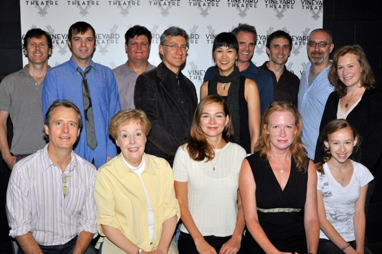 The Cast of Middletown-Linus Roache, Georgia Engel, Heather Burns, Johanna Day, Olivia Scott, Will Eno (Playwright), James McMenamin, Ed Jewett, David Garrison, Cindy Cheung, Michael Park, Pete Simpson,  McKenna Kerrigan and Ken Rus Schmoll (Director) at MIDDLETOWN Meets the Press