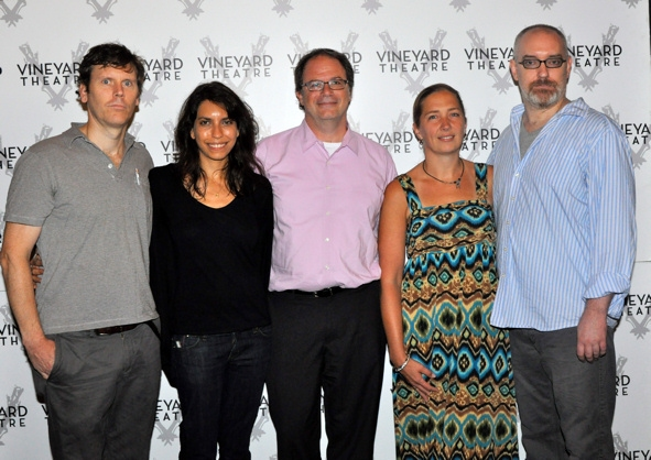 Will Eno, Sarah Stern (Associate Artistic Director), Douglas Aibel (Vineyard Theatre Artistic Director), Jennifer Garvey-Blackwell (Executive Director) and Ken Rus Schmoll at MIDDLETOWN Meets the Press
