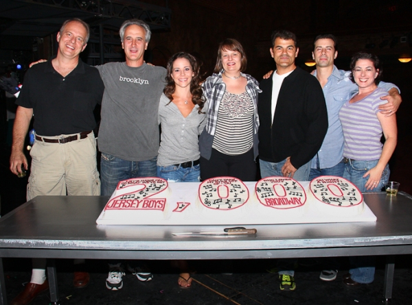 Joe Payne, Mark Lotito, Sara Schmidt,  Michelle Bosch,  Peter Gregus, Dominic Nolfi at JERSEY BOYS Celebrates 2000 Performances on Broadway
