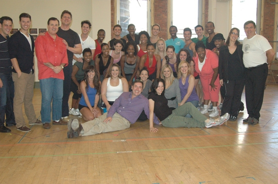 Matt Lenz (Director) and Michele Lynch (Choreographer) and the entire cast of Hairspr Photo