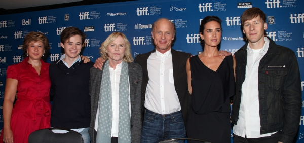 Yeardley Smith, Harrison Gilbertson, Amy Madigan, Ed Harris, Jennifer Connelly, and Dustin Lance Black  at WHATS WRONG WITH VIRGINIA Press Conference at TIFF