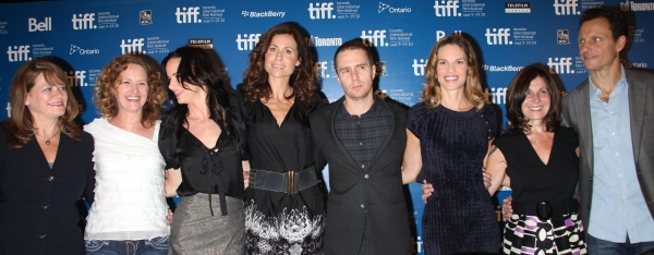 Betty Anne Waters, actress Melissa Leo, actress Juliette Lewis, actress Minnie Driver, actor Sam Rockwell, actress Hilary Swank, writer Pamela Gray and director Tony Goldwyn  at CONVICTION Press Conference at the Toronto International Film Festival