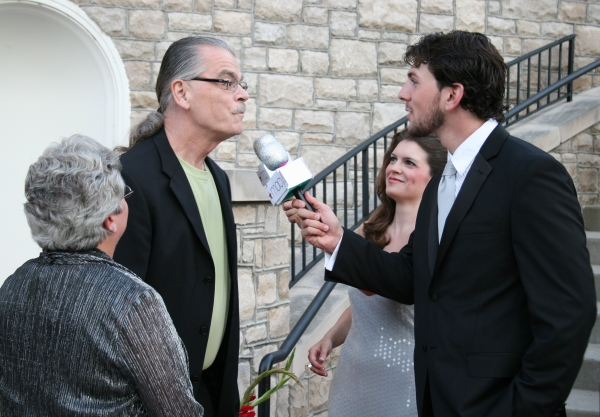 Tim O'Brien, the husband of honoree Kathleen O'Brien, is interviewed by Jennifer Richmond and Trey Palmer.