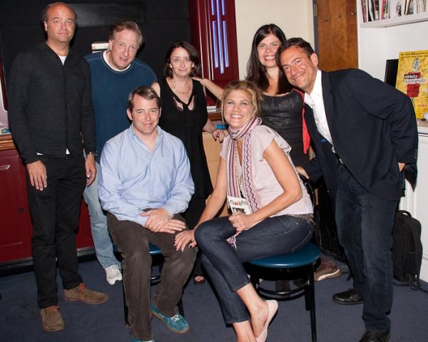 Scott Adsit, Alan Zweibel, Matthew Broderick, Rachel Dratch, Kristen Johnston, Dayle Reyfel, and Eugene Pack