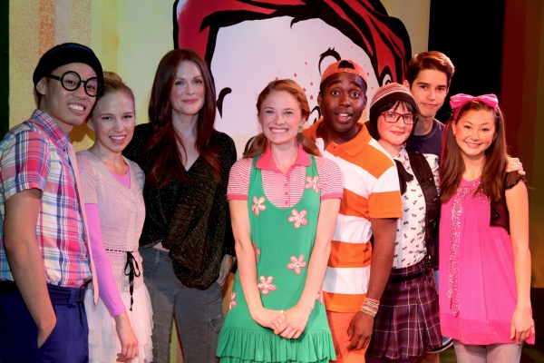 Joey Haro, Jessica Bishop, Julianne Moore, Hayley Podschun, Mykal Kilgore, Linda Gabler, Andrew Cristi and Kimiko Glenn at Julianne Moore Promotes FRECKLEFACE STRAWBERRY Musical!
