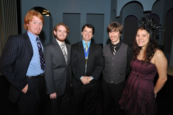 First Night honoree Paul Gatrell (center), with Luke Hatmaker, Zack McCann, Ben Stonick and Kyla Lowder, Belmont University students who were among the 2010 Most Promising Actors.