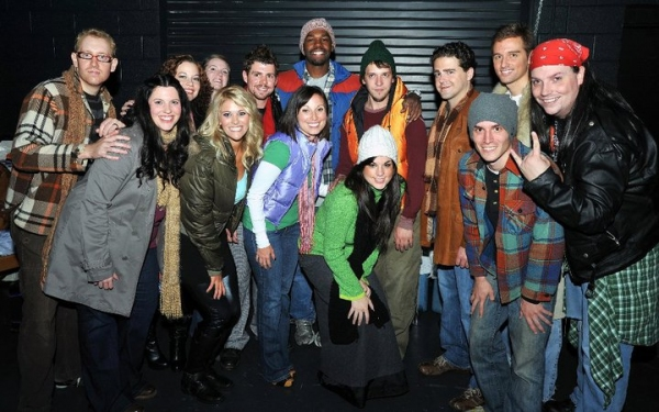 The cast of Rent backstage at First Night, prior to the show's opening number. Pictured are Benjamin Van Diepen, Karrah Tines, Laura Thomas-Sonn, Laura Matula, Christina Candilora, Jay Rudolph, Ciaran McCarthy, Mike Baum, Jeffrey Williams, Alan Smith, Val
