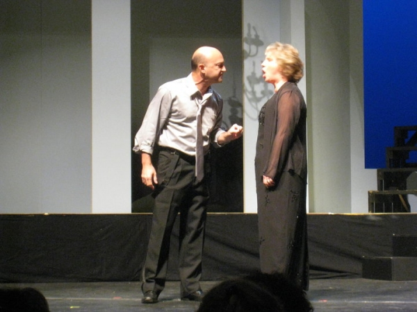 Ed Amatrudo and Melissa Hade perform a scene from Who's Afraid of Virginia Woolf in honor of Sean and Bob O'Connell