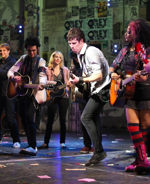 Theo Stockman, Billie Joe Armstong, Mary Faber, John Gallagher Jr., and Rebecca Naomi Jones