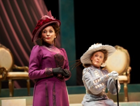 Mrs. Cheveley (actor, Laura Perrotta, left) and Lady Markby (actor, MaryAnn Nagel, right)  at IDEAL HUSBAND Plays the Great Lakes Theater Festival