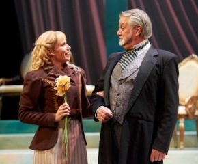 The Earl of Caversham (actor, Aled Davies)  and Mabel (actor, Sara M. Briner) at IDEAL HUSBAND Plays the Great Lakes Theater Festival