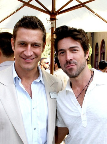 Kyan Douglas and ex-boyfriend Robert Gant ar GLEH garden party