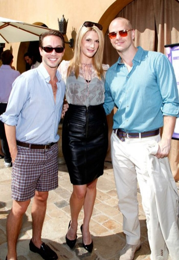Noah Blechman, Thea Gill and Peter Paige at GLEH Garden Party