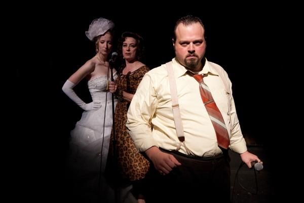 (L-R) Victoria Frings as Polly Peachum, Mary Martello as Mrs. Peachum and Scott Greer as Peachum