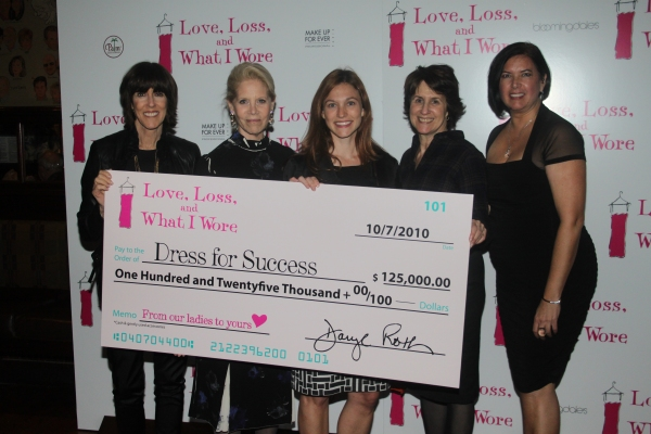 Daryl Roth presented a $125,000.00 check to Dress for Success: Nora Ephron, Daryl Roth, SuzAnne Elliott, Delia Ephron and Karen Carpenter at LOVE, LOSS Welcomes October Cast