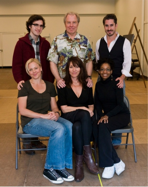 (Standing:) Ryder Bach, Michael McKean and Matthew Saldivar; (Seated): Storm Large, Katey Sagal and Adriane Lenox