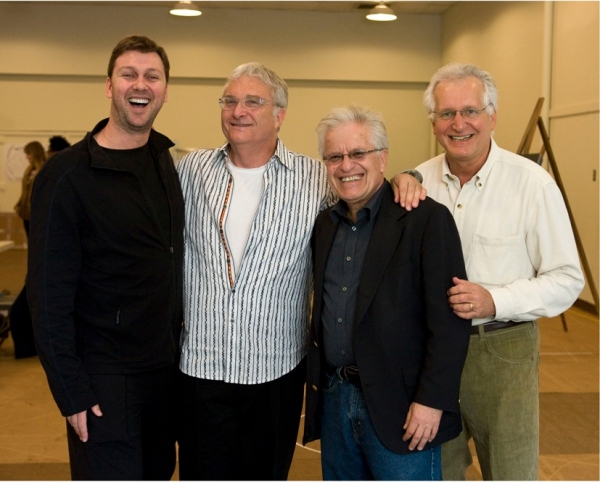 Warren Carlyle, Randy Newman, Jerry Zaks, and Jack Viertel at HARPS & ANGELS in Rehearsal at Mark Taper Forum
