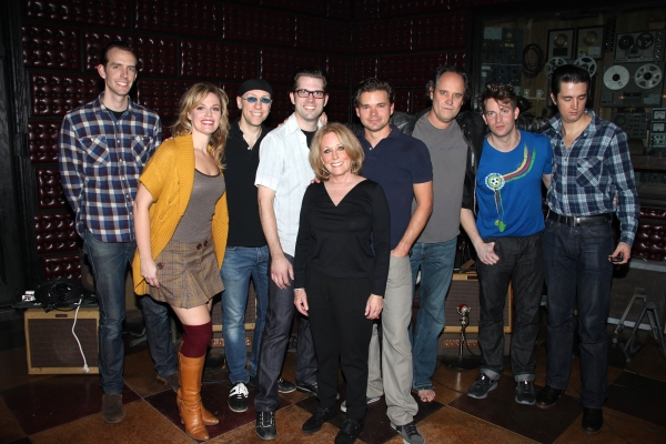 Lesley Gore with cast members: Corey Kaiser, Elizabeth Stanley, Larry Lelli, Robert Britton Lyons, Hunter Foster, Lance Guest, Levi Kreis & Eddie Clendening at Lesley Gore Joins MDQ Onstage!