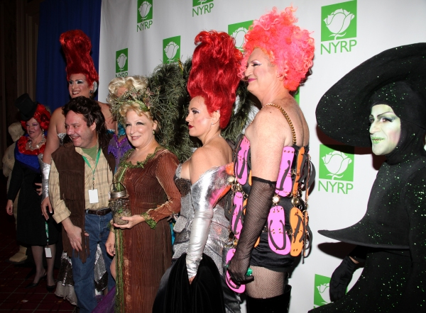 Priscilla executive producer Alecia Parker, Priscilla producers Nick Scandalios and James L. Nederlander Jr., Margo McNabb, Priscilla producers Bette Midler, Liz Koops and Garry McQuinn, Ric Swezey at 15th Annual Hulaween Benefit Gala